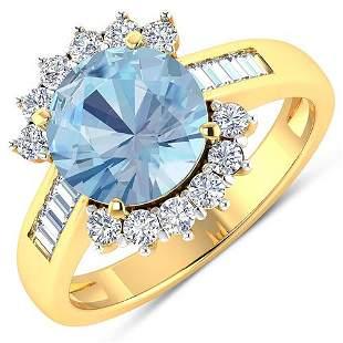 Natural 3.48 CTW Aquamarine & Diamond Ring 14K Yellow