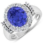 Natural 4.58 CTW Tanzanite & Diamond Ring 14K White