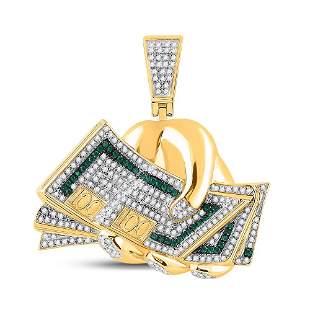 Round Green Color Enhanced Diamond Money Fist Charm