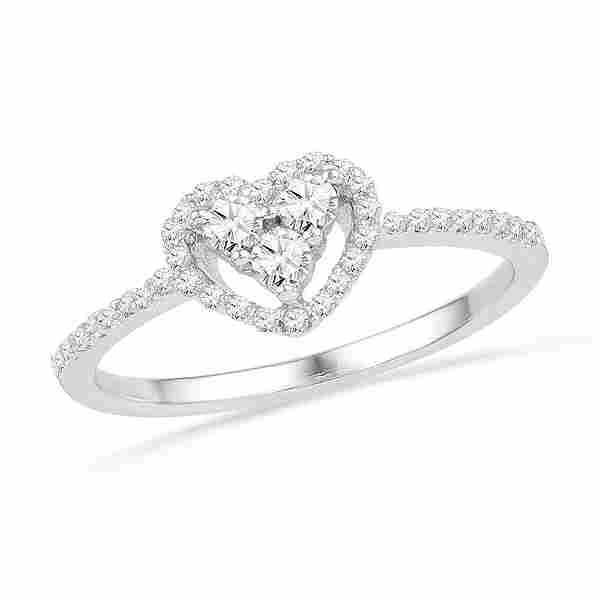 Round Diamond Slender Framed Heart Cluster Ring 1/3