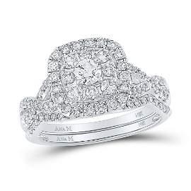 Diamond Halo Bridal Wedding Ring Band Set 1 Cttw 14KT