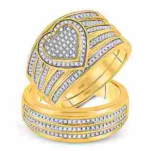 Diamond Heart Matching Wedding Set 1/2 Cttw 10KT Yellow