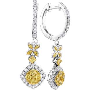 Round Yellow Diamond Cocktail Dangle Earrings 1 Cttw
