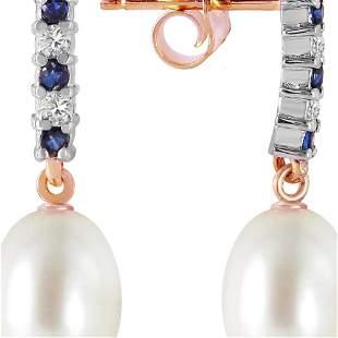 Genuine 8.3 ctw Sapphire, Pearl & Diamond Earrings 14KT