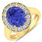 Natural 4.17 CTW Tanzanite & Diamond Ring 14K Yellow