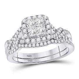 Bridal Wedding Ring Band Set 1 Cttw 10KT White Gold