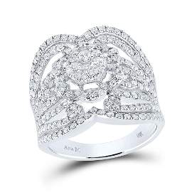 Round Diamond Fashion Ring 1-1/2 Cttw 14KT White Gold