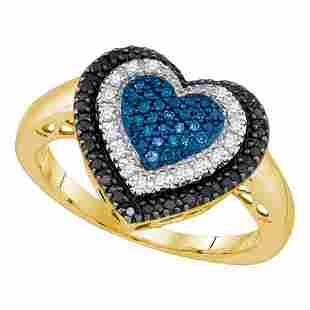 Round Black Blue Color Enhanced Diamond Heart Ring 1/4