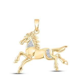 Round Diamond Horse Pony Animal Pendant 1/20 Cttw 10KT