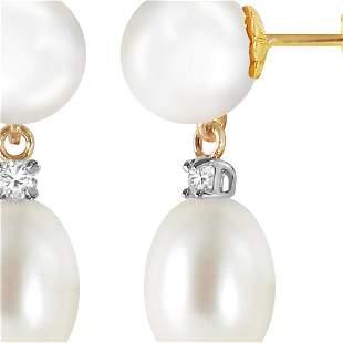 Genuine 10.10 ctw Pearl & Diamond Earrings 14KT Yellow