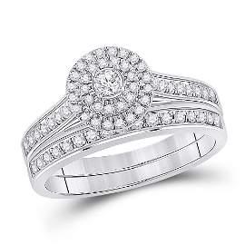 Diamond Halo Bridal Wedding Ring Band Set 1/2 Cttw 10KT