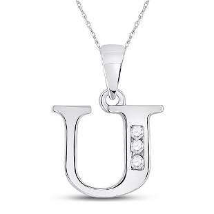 Round Diamond U Initial Letter Pendant 1/20 Cttw 10KT