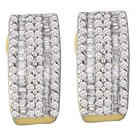 Round Baguette Diamond Vertical Stripe Hoop Earrings