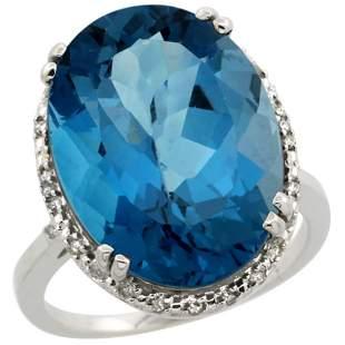 13.71 CTW London Blue Topaz & Diamond Ring 14K White