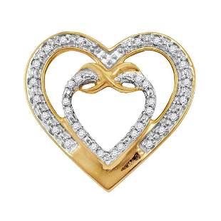 Round Diamond Nested Double Heart Pendant 1/10 Cttw