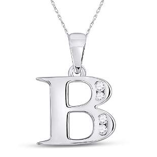 Round Diamond B Letter Pendant 1/20 Cttw 10KT White