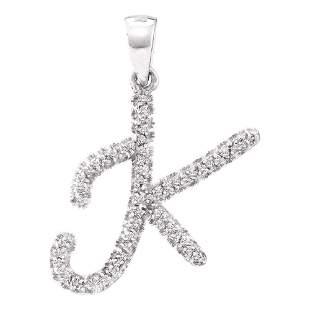 Round Diamond Letter K Pendant 1/6 Cttw 10KT White Gold