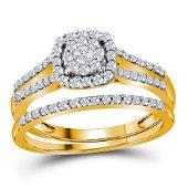 Diamond Split-shank Bridal Wedding Ring Band Set 1/2