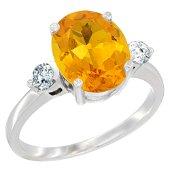 2.60 CTW Citrine & Diamond Ring 14K White Gold