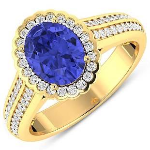 Natural 2.02 CTW Tanzanite & Diamond Ring 14K Yellow