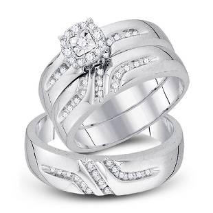 Diamond Solitaire Matching Wedding Set 1/3 Cttw 10KT