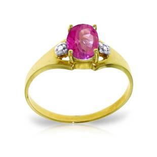 Genuine 0.76 ctw Pink Topaz & Diamond Ring 14KT Yellow