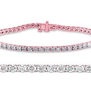 Natural 3.01ct VS2-SI1 Diamond Tennis Bracelet 14K Rose