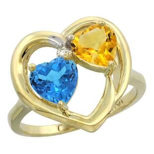 2.61 CTW Diamond, Swiss Blue Topaz & Citrine Ring 10K