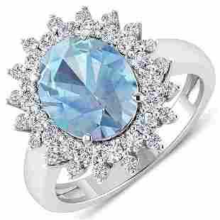 Natural 3.49 CTW Aquamarine & Diamond Ring 14K White