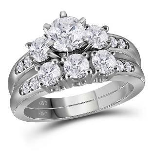Diamond 3-Stone Bridal Wedding Ring Band Set 2 Cttw
