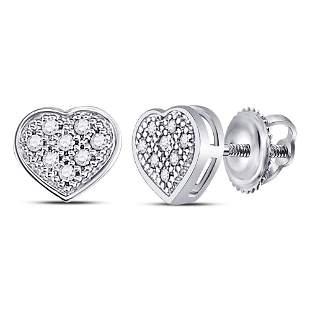 Round Diamond Heart Cluster Earrings 1/20 Cttw 10KT