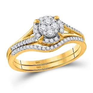 Diamond Bridal Wedding Ring Band Set 3/8 Cttw 10KT