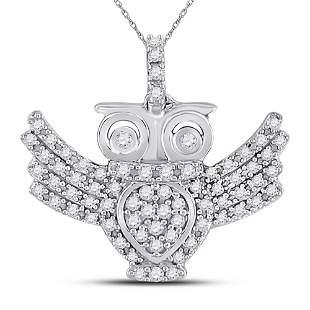 Round Diamond Owl Bird Animal Pendant 1/4 Cttw 10KT