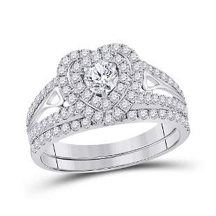 Heart Bridal Wedding Ring Band Set 1-1/5 Cttw 14KT