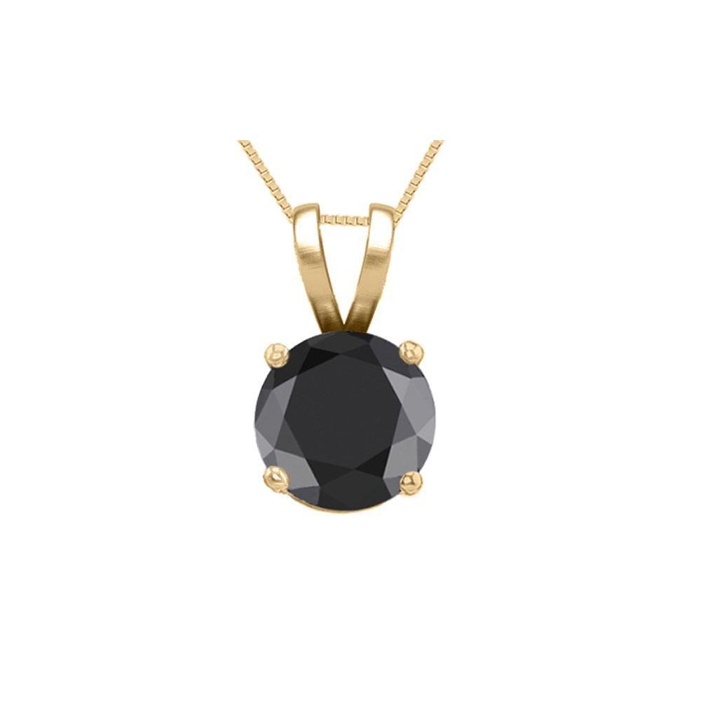 14K Yellow Gold 1.03 ct Black Diamond Solitaire