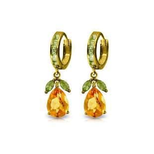 Genuine 14.3 ctw Citrine & Peridot Earrings 14KT Yellow