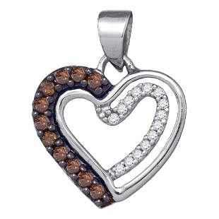 Round Brown Diamond Heart Pendant 1/5 Cttw 10KT White