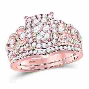 Diamond Bridal Wedding Ring Band Set 7/8 Cttw 14KT Rose