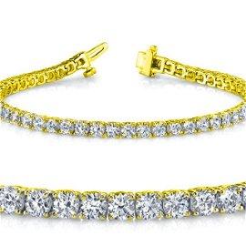 Natural 5ct VS2-SI1 Diamond Tennis Bracelet 18K Yellow