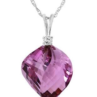 Genuine 10.80 ctw Amethyst & Diamond Necklace 14KT