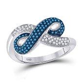 Round Blue Color Enhanced Diamond Infinity Ring 1/3