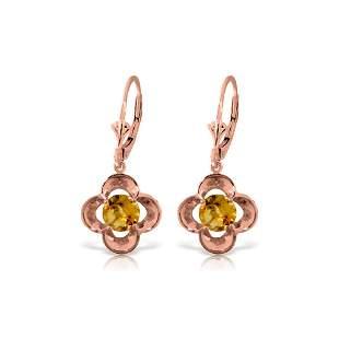 Genuine 1.10 ctw Citrine Earrings 14KT Rose Gold