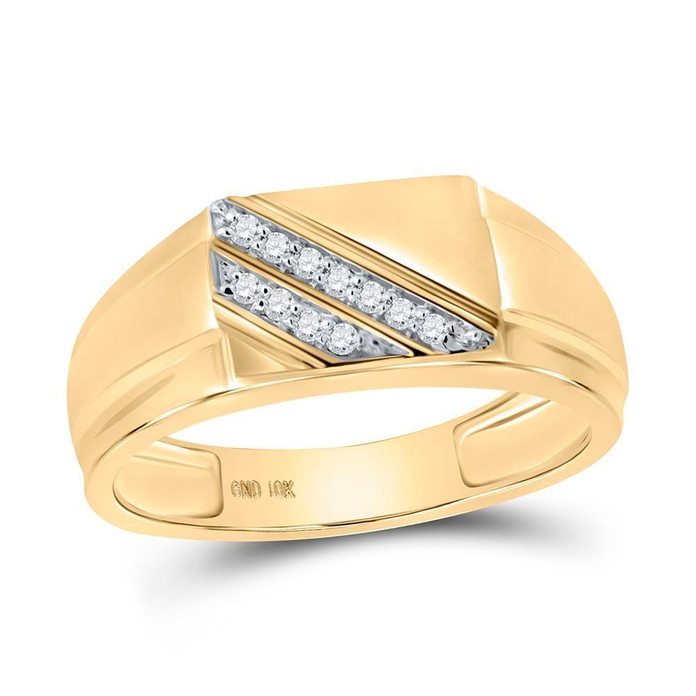 Round Diamond Diagonal Row Flat Top Ring 1/12 Cttw 10KT
