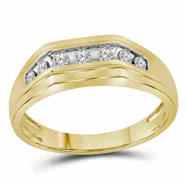 Round Diamond Flat Top Band Ring 1/4 Cttw 10KT Yellow