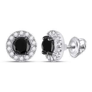 Round Black Color Enhanced Diamond Stud Earrings 1 Cttw