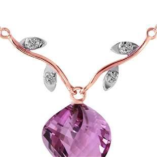 Genuine 10.77 ctw Amethyst & Diamond Necklace 14KT Rose