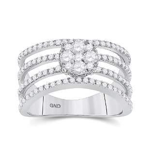 Round Diamond Four Row Flower Cluster Ring 1 Cttw 10KT