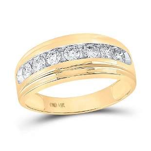 Round Diamond Wedding Band Ring 7/8 Cttw 14KT Yellow