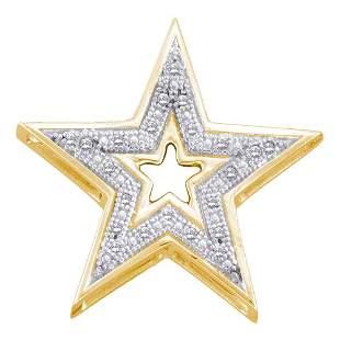 Round Diamond Simple Star Cutout Pendant 1/20 Cttw 10KT
