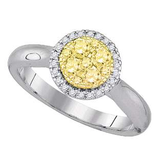 Round Canary Yellow Diamond Circle Cluster Ring 1/2